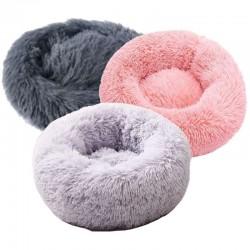 Long Plush Bed Medium 65cm Dark grey, Light grey, Old pink